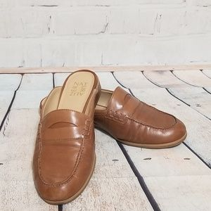 Naturalizer Brown Leather Penny Loafer Mules